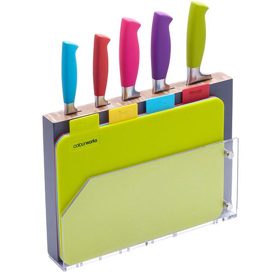《KitchenCraft》分类砧板+刀座刀具组