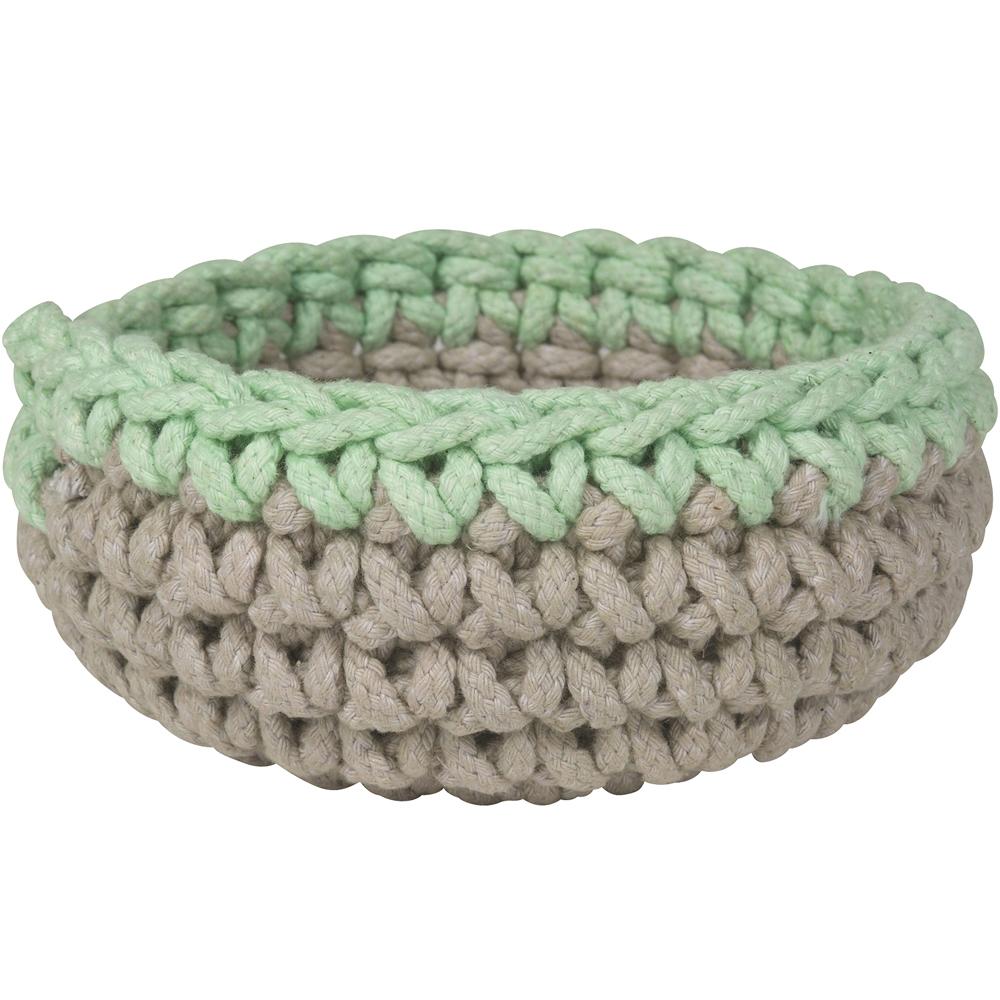 《DANICA》钩针编织收纳篮(灰绿)