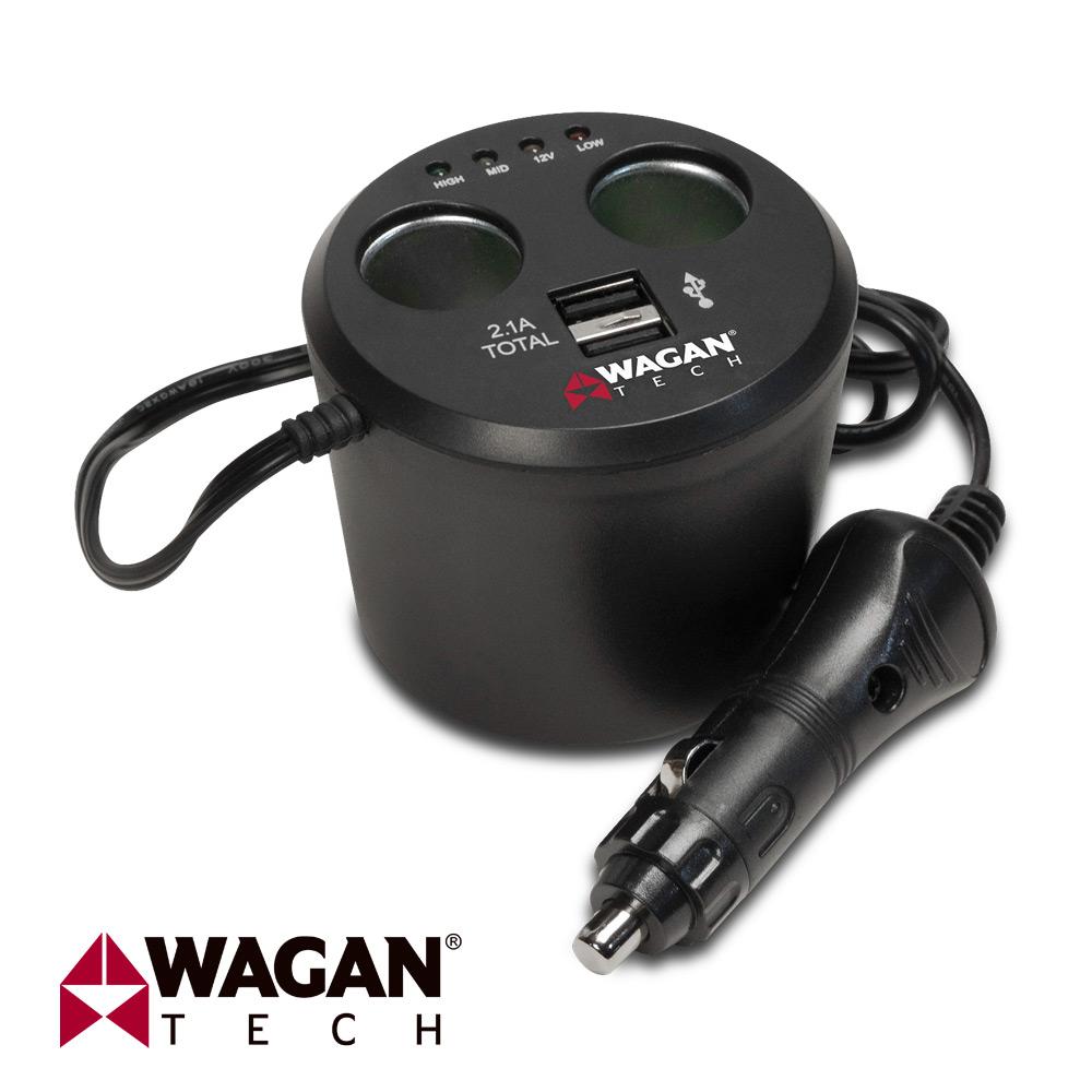 美國 WAGAN 雙孔USB點菸器擴充座 ^(2537~5^)