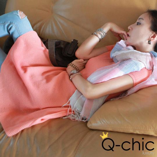 【限量69折】 直紋針織螢光色圓裙洋裝_5色