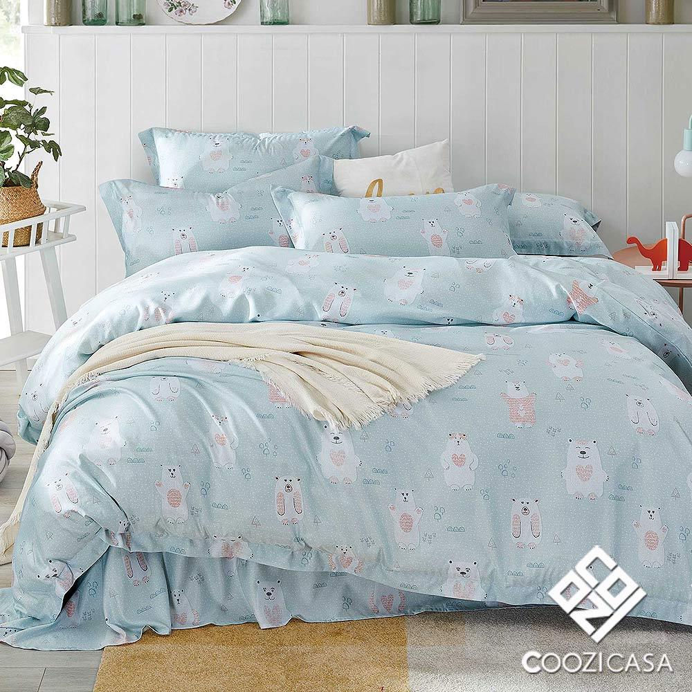 【COOZICASA熊物語】雙人四件式吸濕排汗天絲兩用被床包組