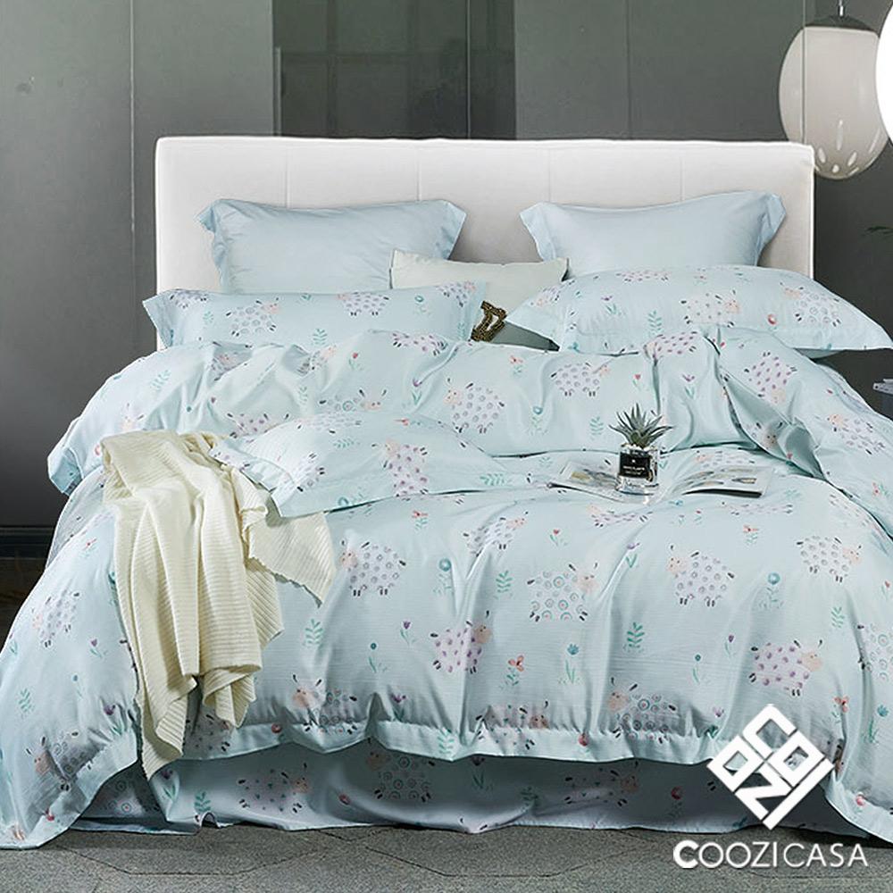 【COOZICASA甜心綿羊】加大四件式吸濕排汗天絲兩用被床包組