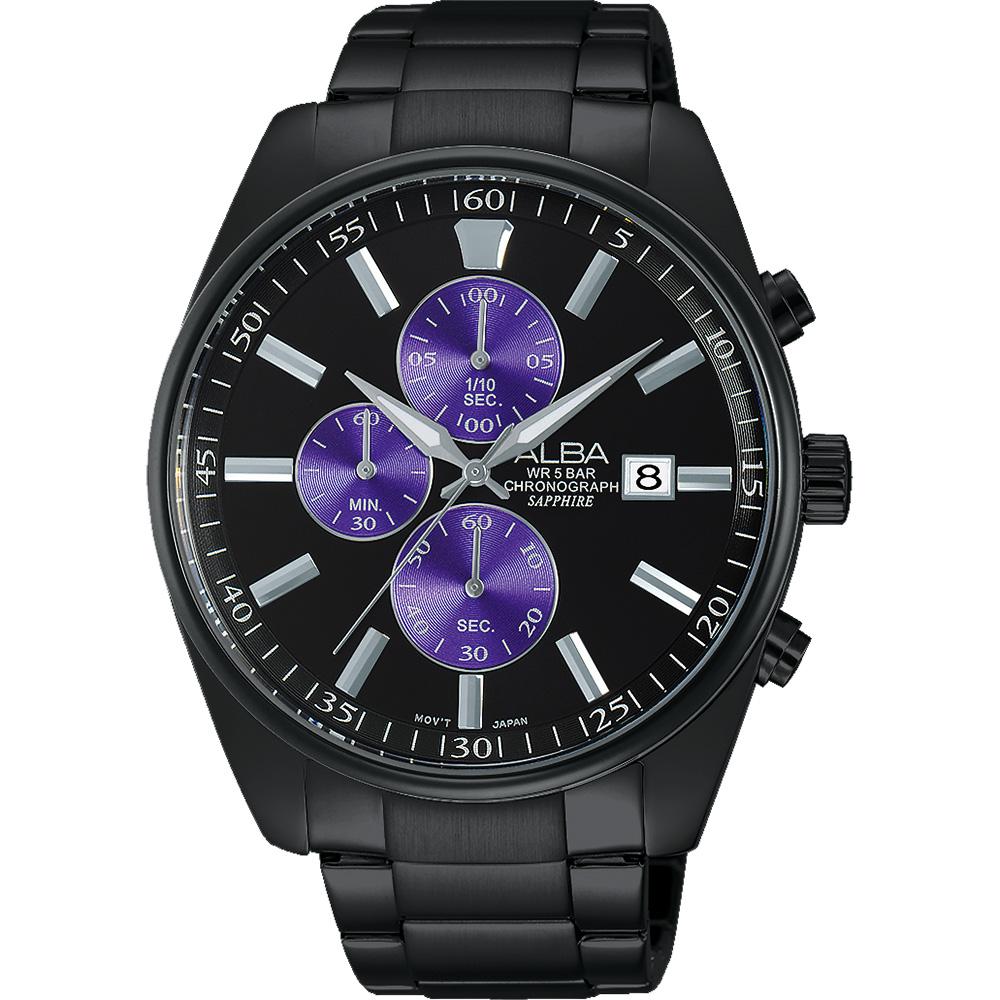 ALBA 潮流东京计时腕表-黑x紫/43mm VD57-X059SD(AM3247X1)