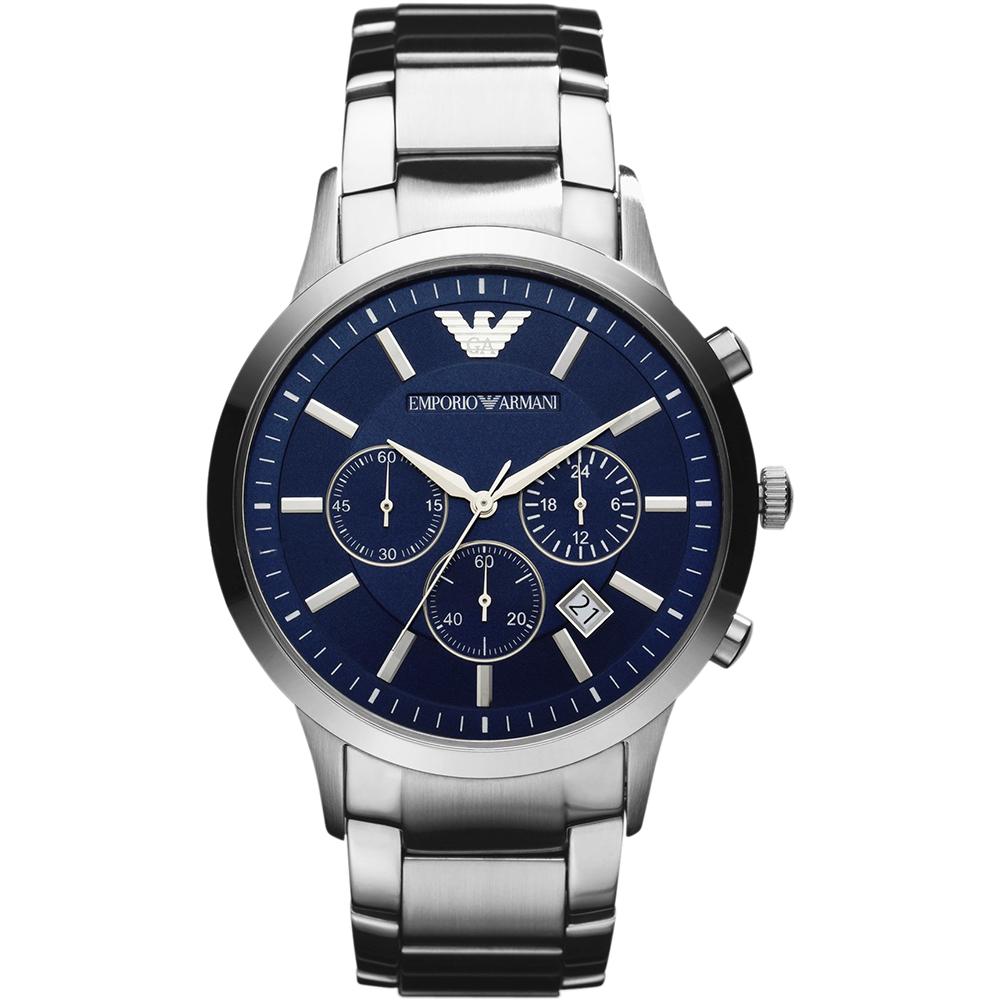 Emporio Armani Classic 王者时尚家三眼计时腕表-蓝x银/43mm AR2448