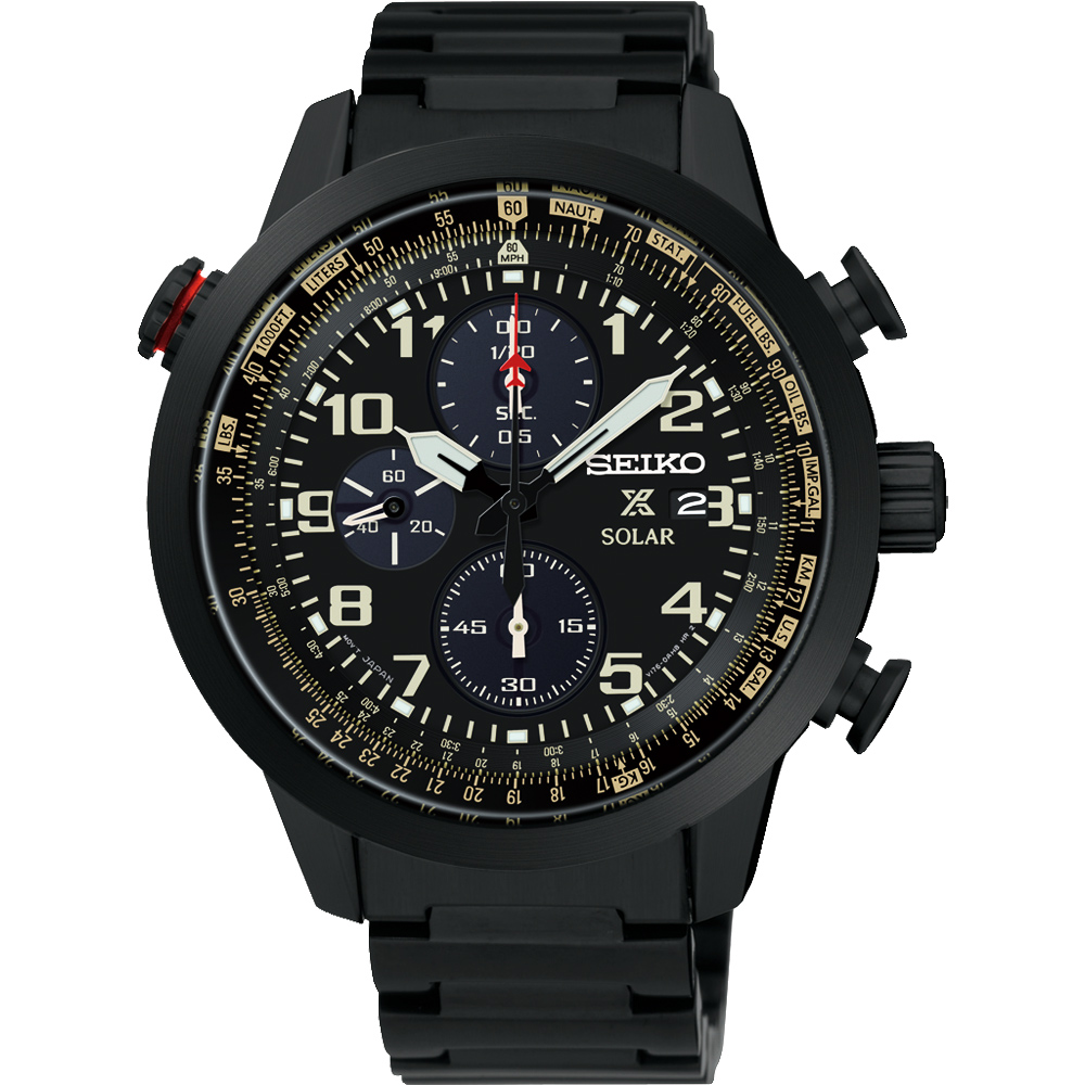 SEIKO 精工 PROSPEX 飛行任務太陽能計時碼錶~鍍黑 44mm V176~0AG