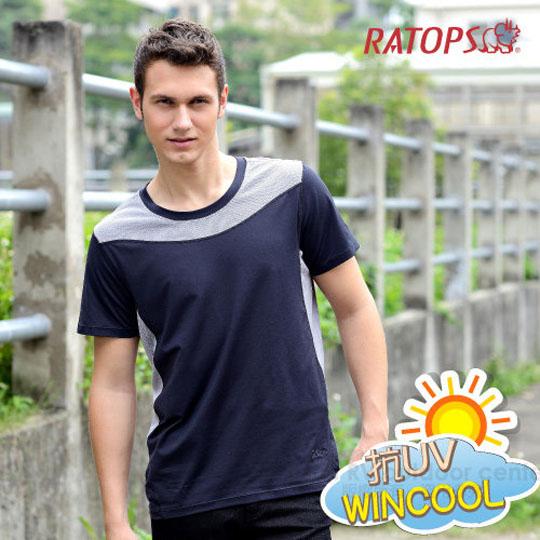 【瑞多仕 RATOPS】WINCOOL 男款 轻量透气弹性凉感衣.短袖圆领T恤.运动休闲衫.排汗衣 /DB8532 黑色
