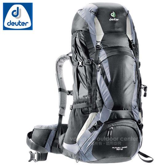 【德國 Deuter 】Futura Vario 50L+10L+5L 網架直立式透氣背包.登山健行背包.自助旅行背包/ 34314 黑/灰
