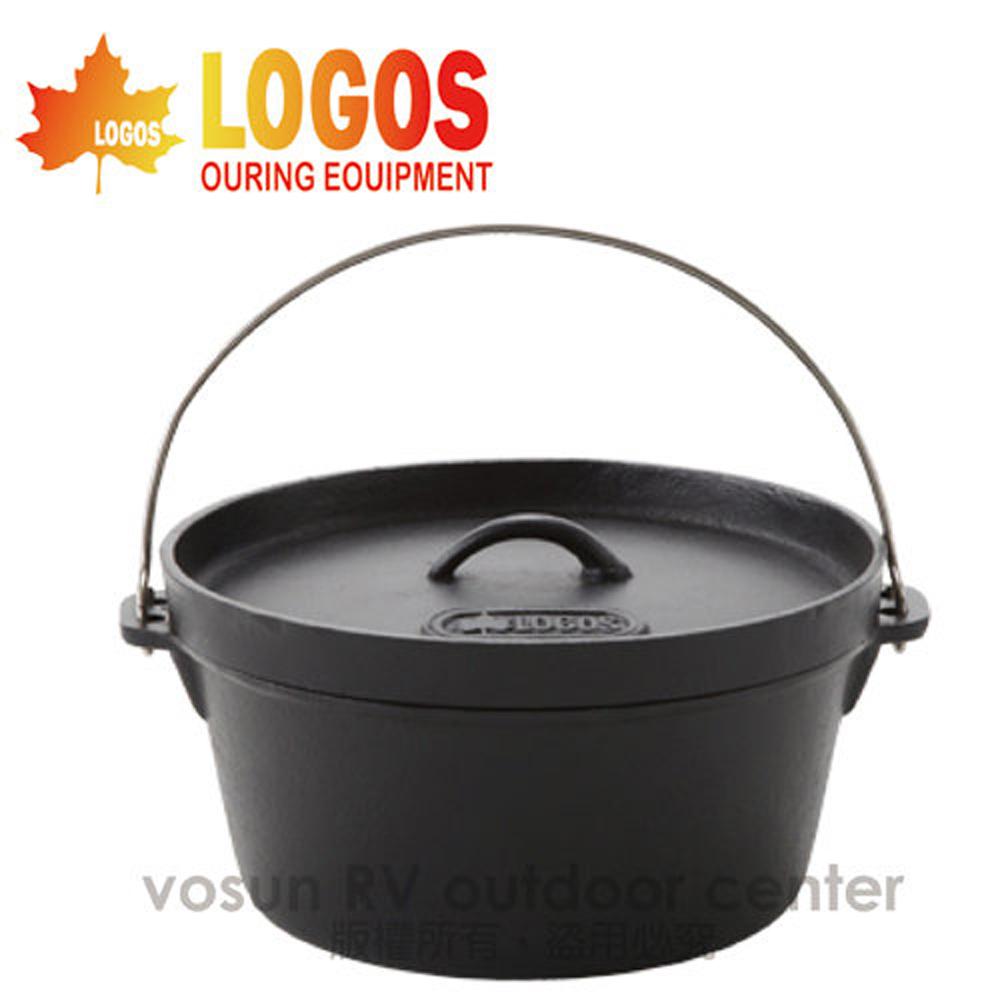 【日本 LOGOS】SL豪快魔法調理荷蘭鍋12吋(附收納袋) /鍋具.黑鍋.鑄鐵鍋.露營/LG81062232