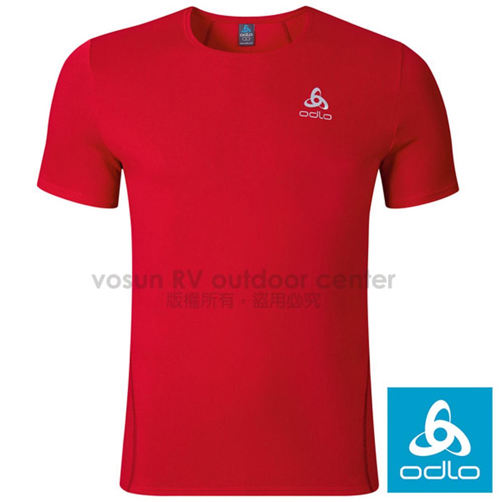 【瑞士 ODLO】男款 轻量套头短袖圆领T恤.弹性透气运动衫.吸湿排汗.休闲衫.运动/正红 349042-30284