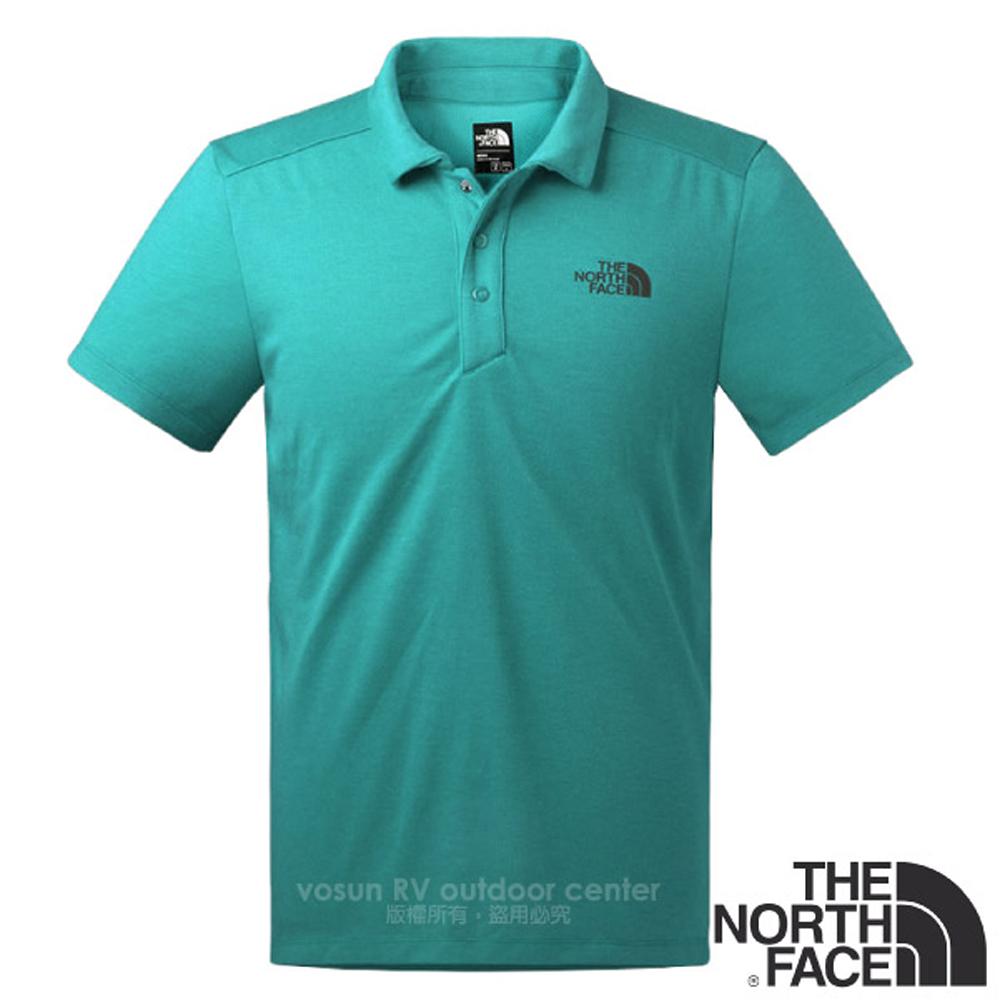 【美国 The North Face】男新款 FlashDry 闪电快干短袖快排POLO衫.机能性吸湿排汗衣.运动/2XX2 蓝绿 N