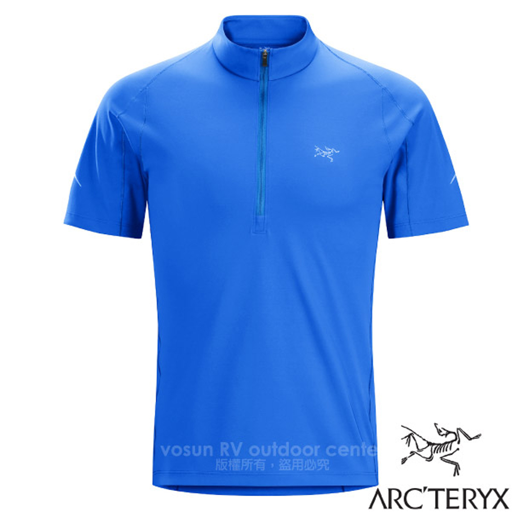 【加拿大 ARC'TERYX 始祖鳥】男新款 Accelerator 快乾短袖套頭衫.戶外跑步功能立領衫/17148 參宿藍 D