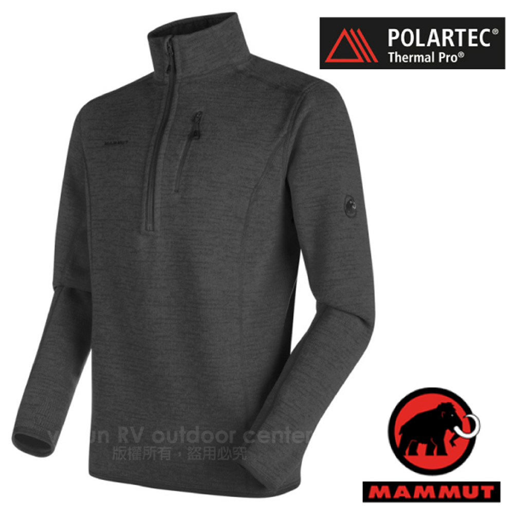 【瑞士 MAMMUT 長毛象】男 Arctic Polartec Thermal Pro 半開襟彈性保暖排汗衣(類羊毛)_00894-0397 石墨灰