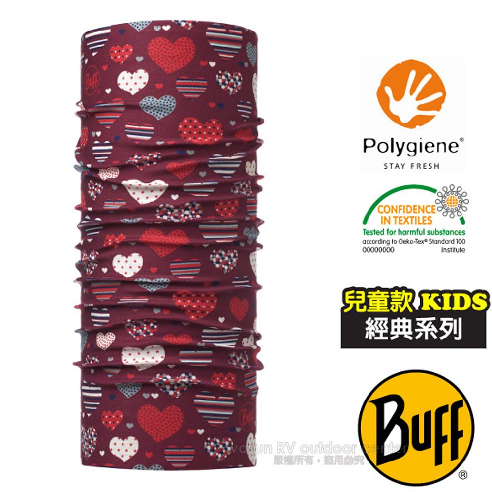 【西班牙 BUFF】ORIGINAL經典系列 兒童Polygiene萬用魔術頭巾(吸溼排汗+抗菌除臭)_115483 心心開滿天