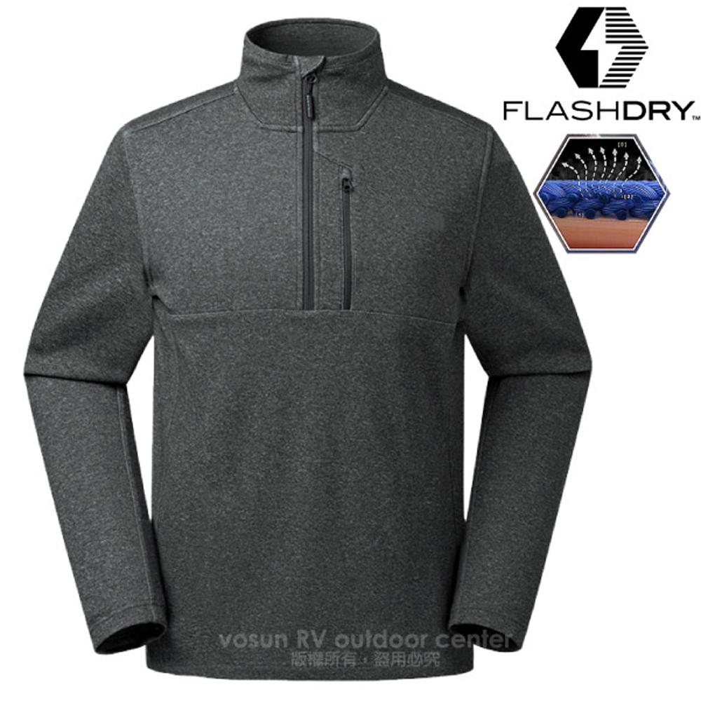 【美國 The North Face】男 FlashDry 閃電快乾長袖快排衫.半開襟立領衫.機能性吸濕排汗衣/366V 深灰 N