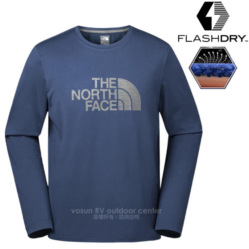 【美國 The North Face】男新款 FlashDry 閃電快乾長袖快排衫.機能性吸濕排汗衣.運動T恤/366M 藍 N