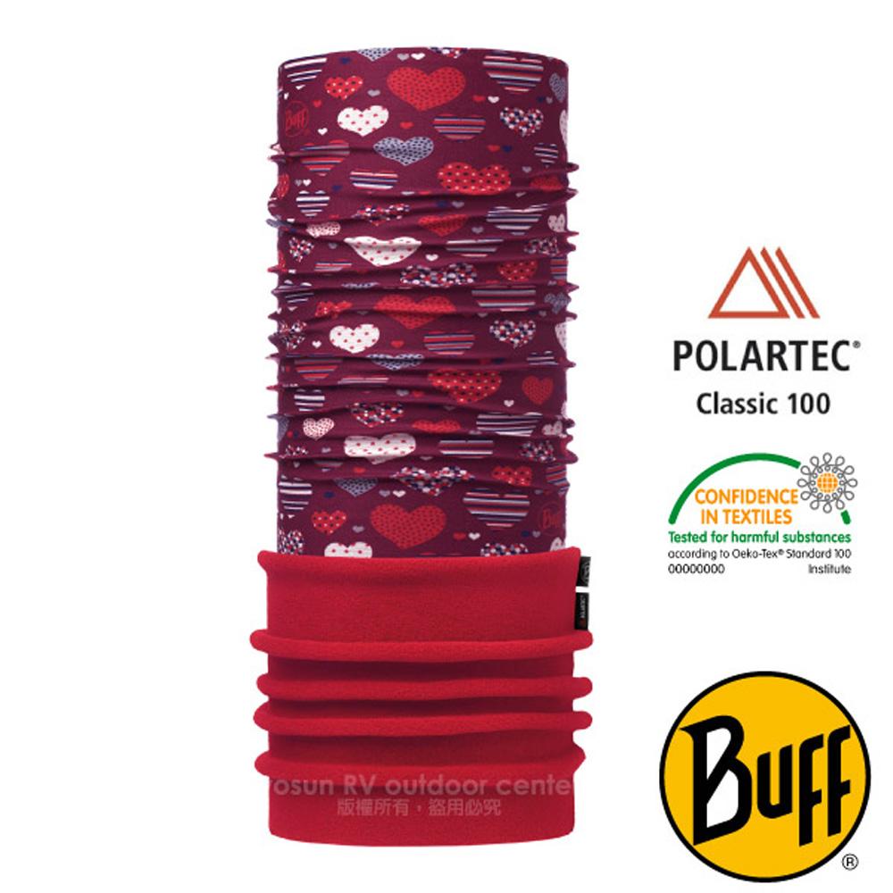 【西班牙 BUFF】兒童款 POLARTEC 加長型超彈性保暖魔術頭巾(吸溼排汗+抗菌除臭)_115489 心心開滿天
