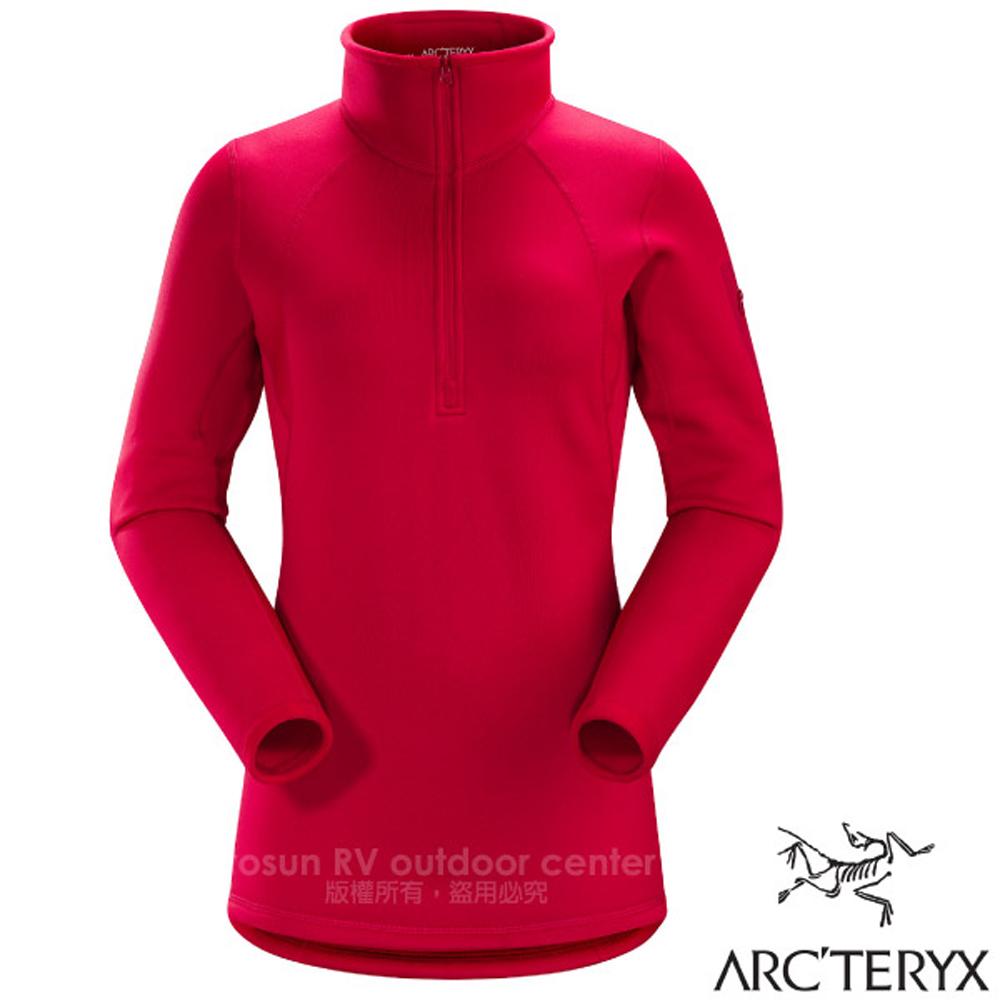 【加拿大 ARC'TERYX 始祖鳥】女 Rho AR Zip Neck 半開襟刷毛內層套頭衫.保暖中層衣/11273 菊苣紅