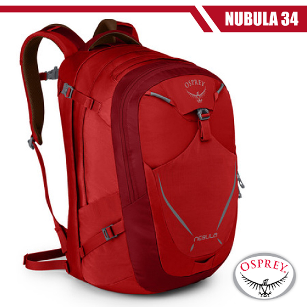 【美國 OSPREY】Nebula 34L 超輕多功能城市休閒筆電背包/適旅遊通勤.自助旅行_艷麗紅 R