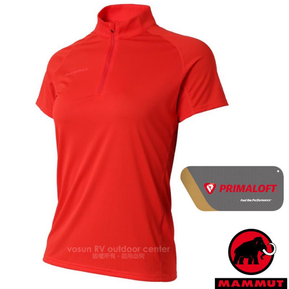 【MAMMUT 長毛象】Performance Dry Zip 女新款 半開襟拉鍊短袖排汗上衣.運動立領衫/00430-3218 小檗紅