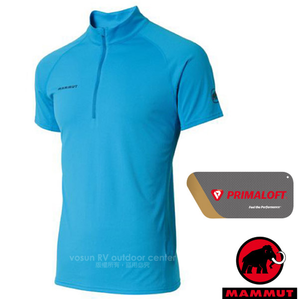 【MAMMUT 長毛象】Performance Dry Zip 男新款 半開襟拉鍊短袖排汗上衣.運動立領衫/00440-5528 帝國藍