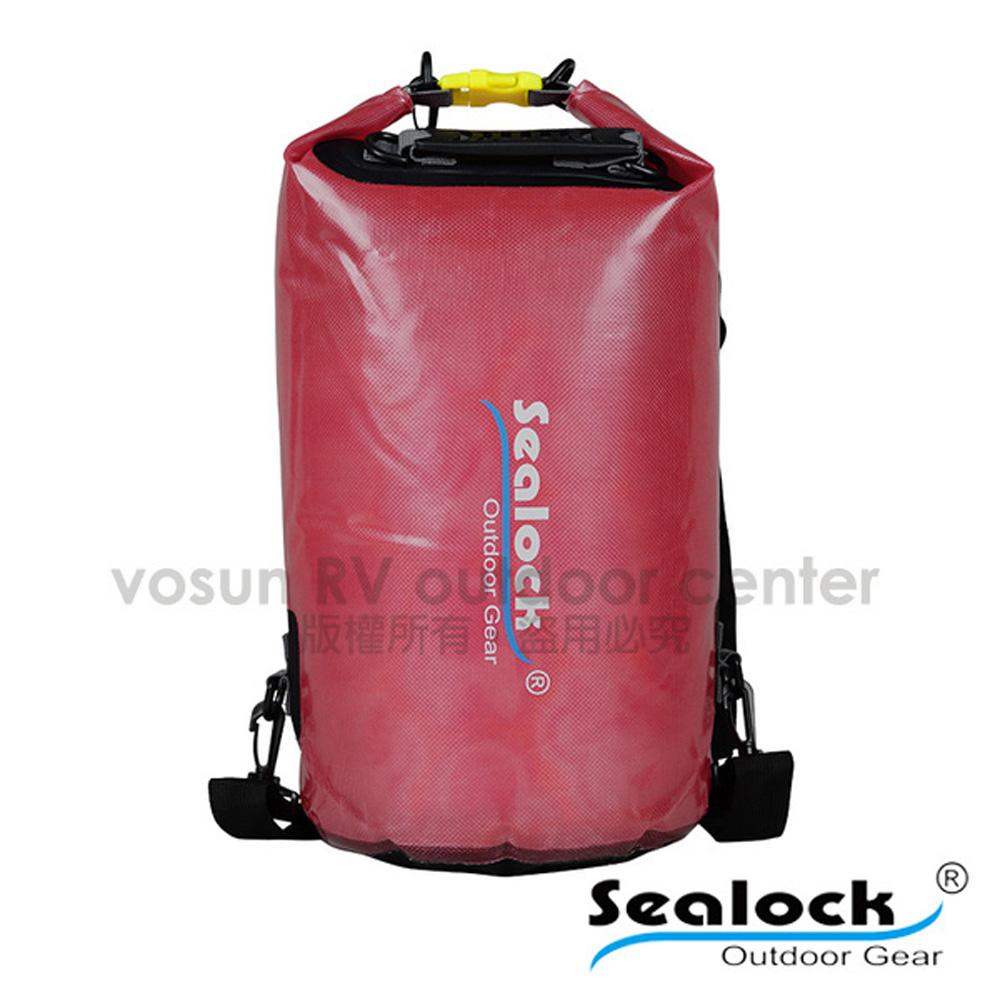 【Sealock思路客】IPX7果凍PVC防水雙肩背包28L.多功能收納袋.漂流袋.打包袋.背包內袋.打理包/T0128 紅
