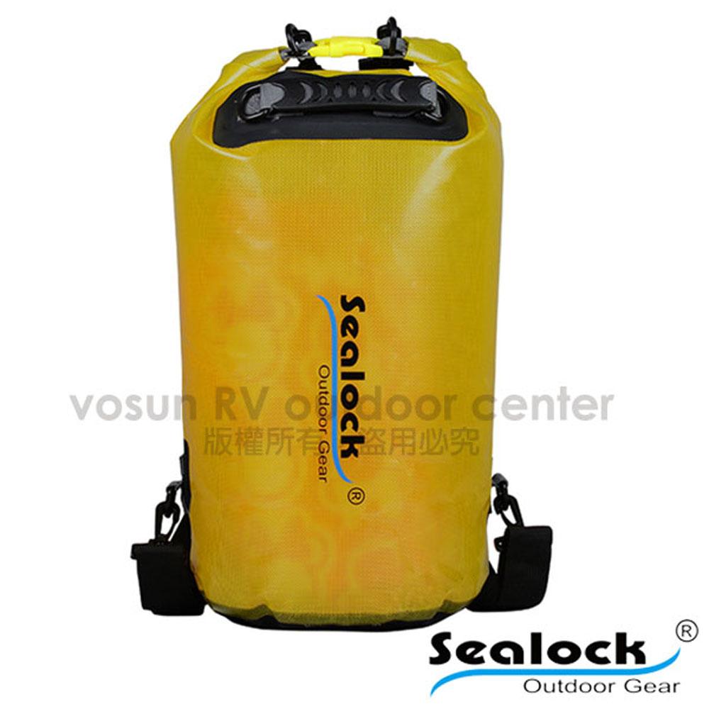 【Sealock思路客】IPX7果凍PVC防水雙肩背包28L.多功能收納袋.漂流袋.打包袋.背包內袋.打理包/T0128 黃