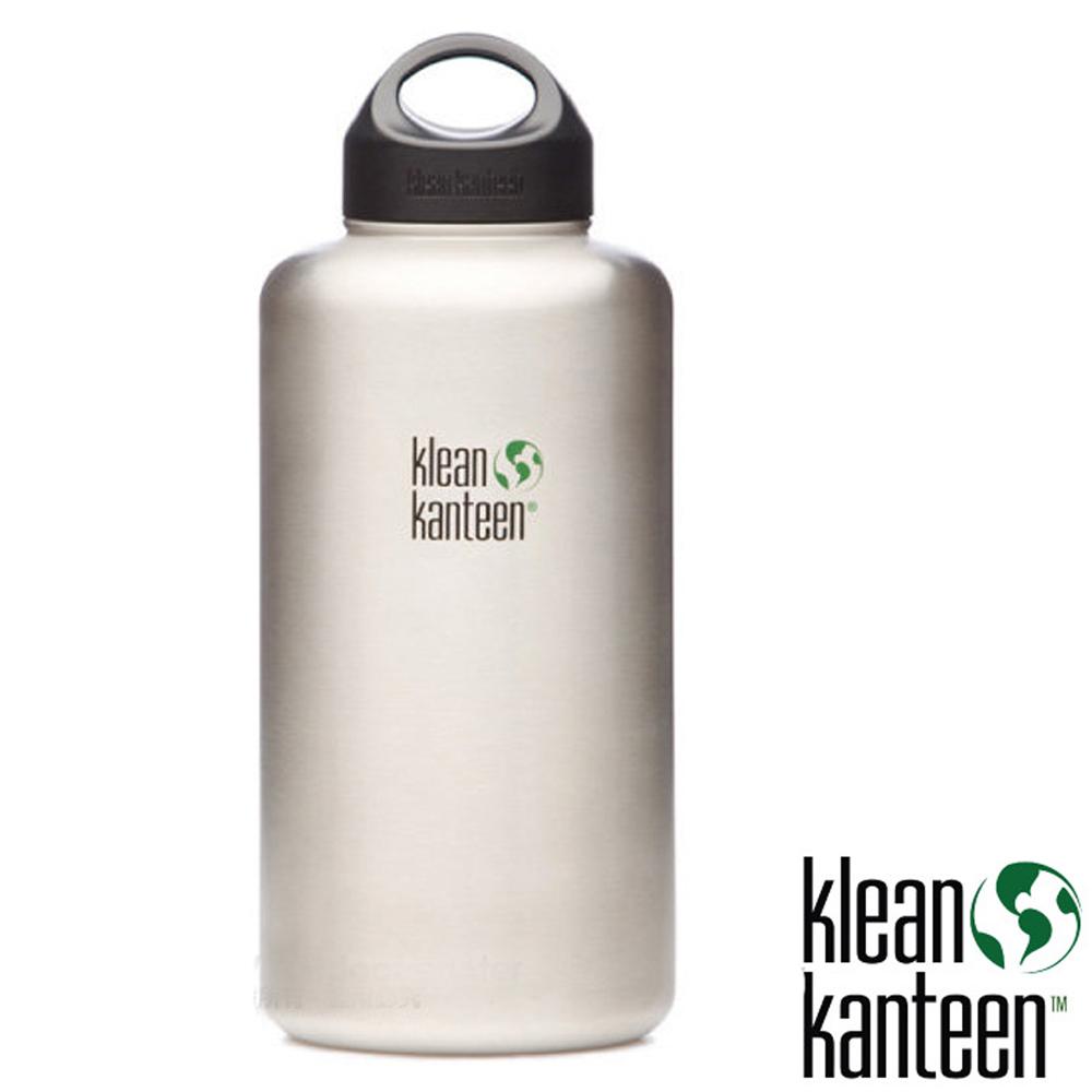 【美國 Klean Kanteen】64oz 1900ml 正食品級18/8 寬口不鏽鋼水壺.可利鋼瓶.KK水壺/K64WSSL-BS 原鋼色