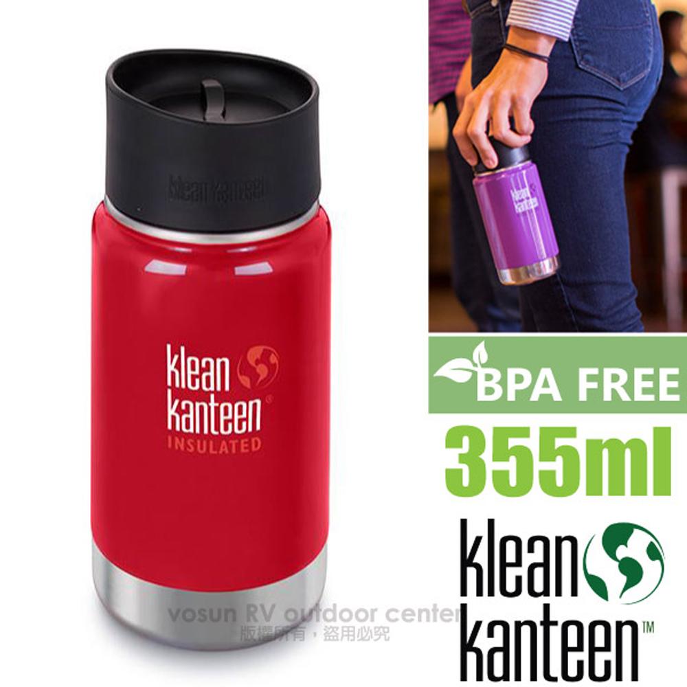 【美國 Klean Kanteen】<送水壺套> 12oz/355ml 正食品級18/8 寬口不鏽鋼保冷保溫瓶水壺/K12VWPCC 寶石紅