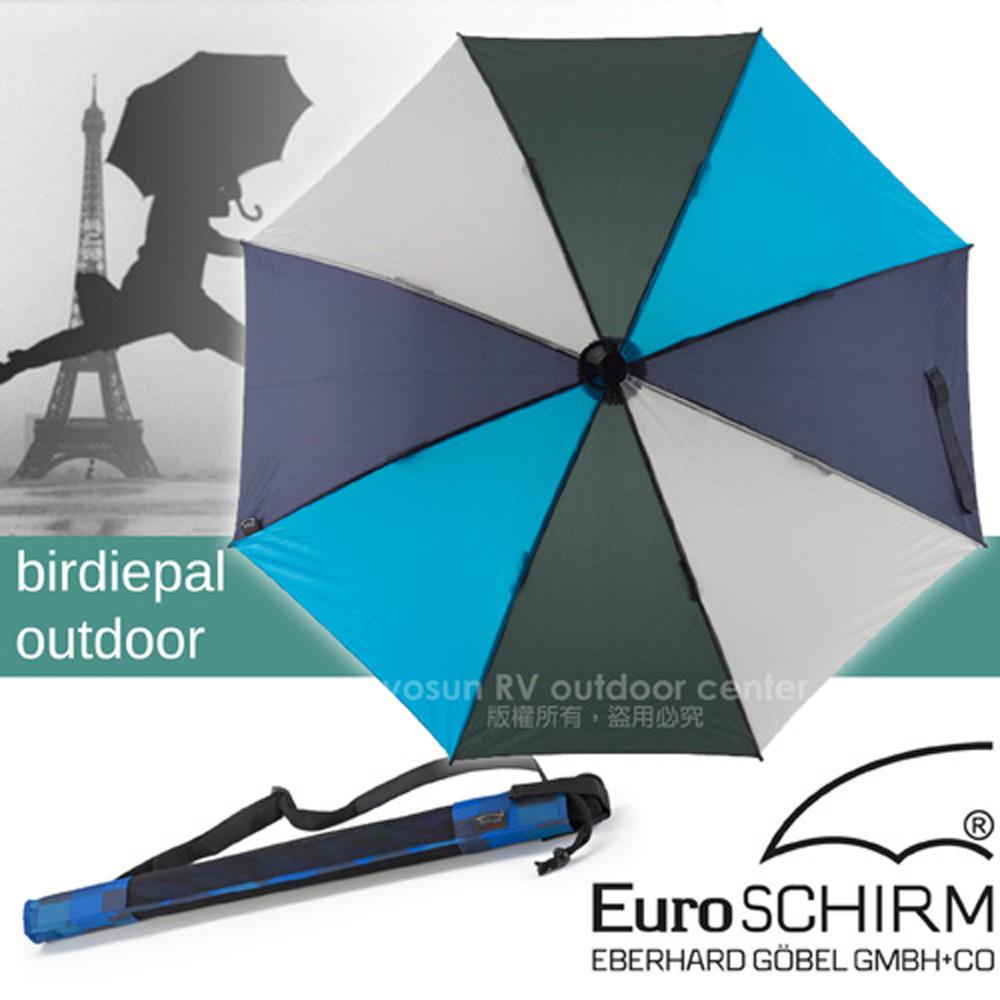 【德國 EuroSCHIRM】BIRDIEPAL OUTDOOR 戶外專用風暴傘/抗導電.質輕強韌.耐撞擊.指北針/藍灰 W208-CW6