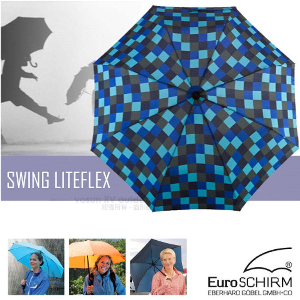 【德國 EuroSCHIRM】SWING LITEFLEX 戶外專用直把傘(超輕量207g)/100%聚酯纖維/附收納袋_W2L6 方格藍