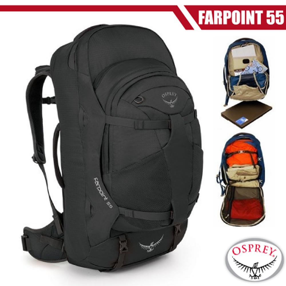 【美國 OSPREY】新款 Farpoint 55L 多功能登機箱/行李箱背包(附爆音哨+筆電腦包).登山健行/火山灰 R