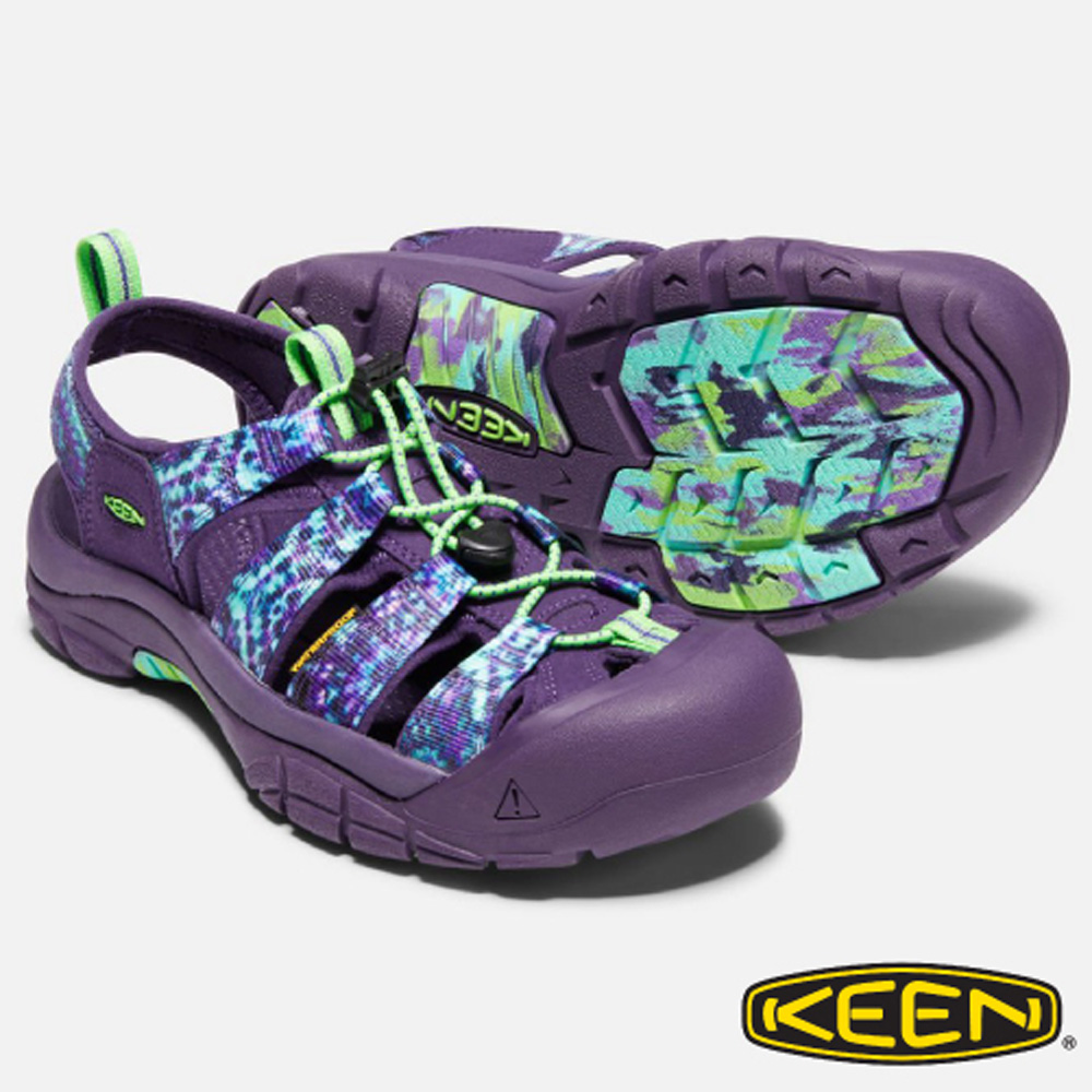 【美国 KEEN】NEWPORT RETRO 女新款 专业透气健行护趾凉鞋(EVA中底).抗菌防臭_1018211 紫/印花