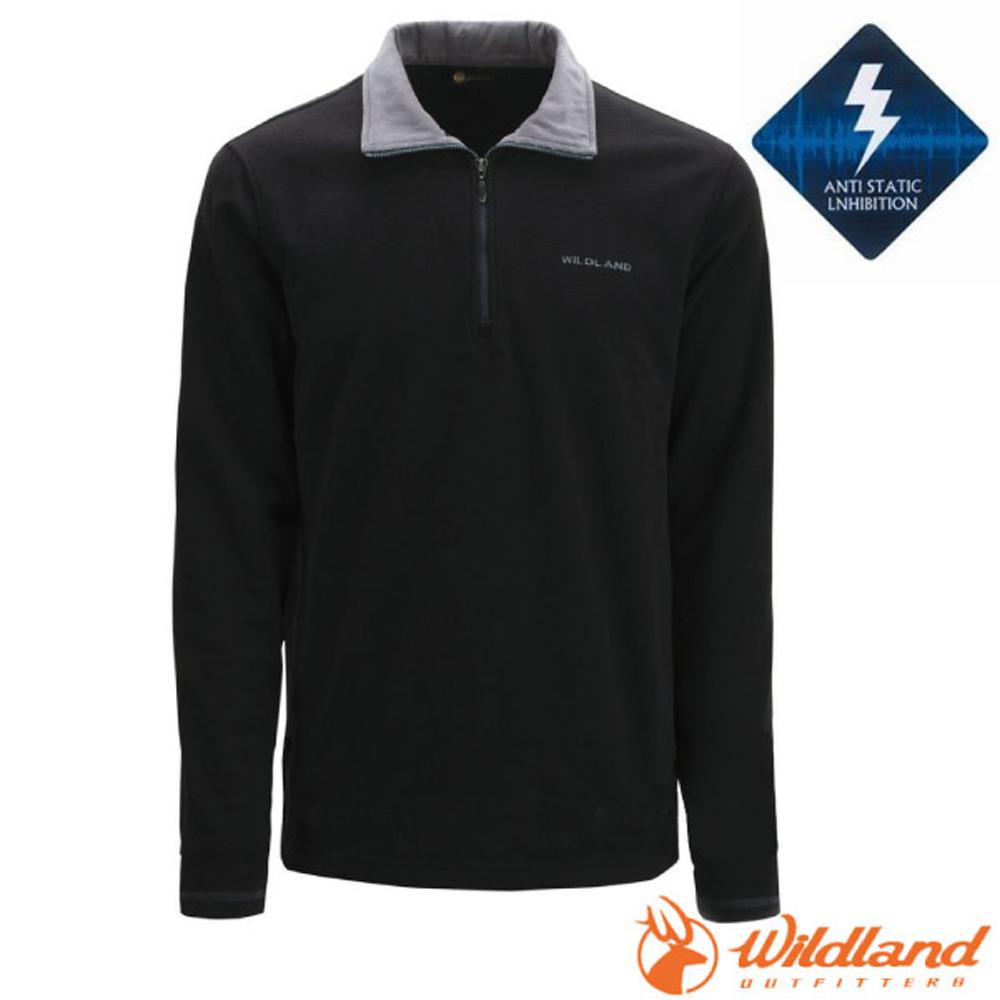 【荒野 WildLand】男款 PILE保暖上衣.長袖半開襟立領衫.刷毛休閒衫.中層衣/OA02508-54 黑色