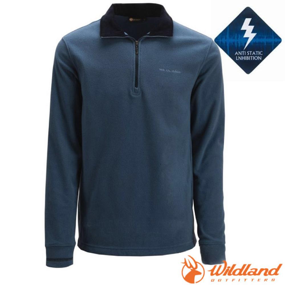 【荒野 WildLand】男款 PILE保暖上衣.長袖半開襟立領衫.刷毛休閒衫.中層衣/OA02508-70 寶藍