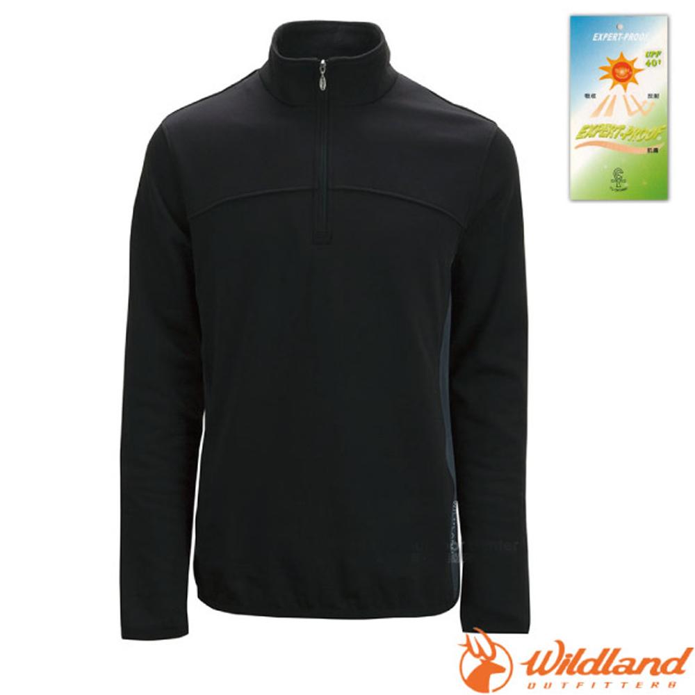 【荒野 WildLand】男款 彈性針織保暖衣.半開襟長袖立領衫.POLO衫.保暖上衣.刷毛衣.休閒/0A02602-54 黑