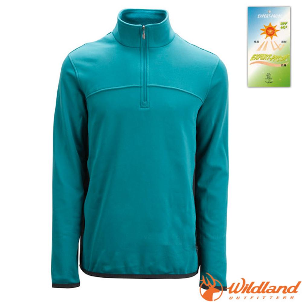 【荒野 WildLand】男款 彈性針織保暖衣.半開襟長袖立領衫.POLO衫.保暖上衣.刷毛衣/0A02602-77 中藍