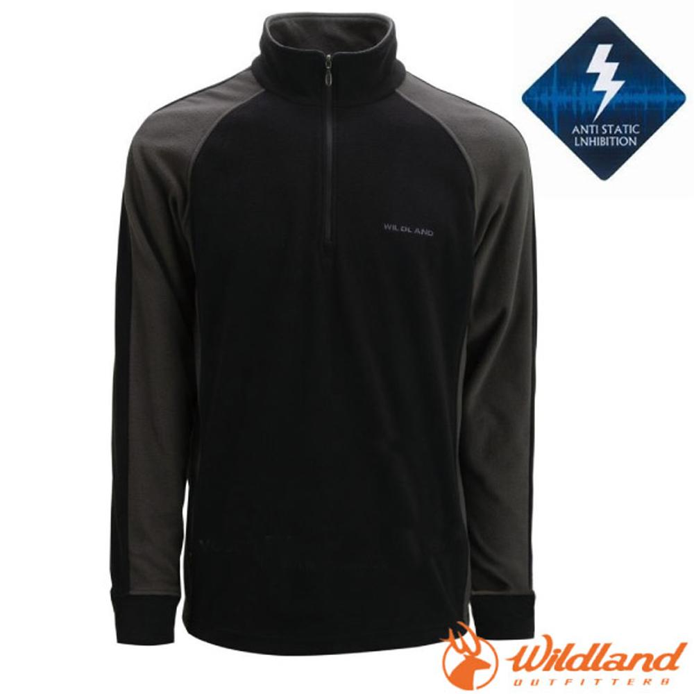 【荒野 WildLand】男款 PILE保暖上衣.長袖半開襟立領衫.刷毛休閒衫.中層衣/OA02506-54 黑色