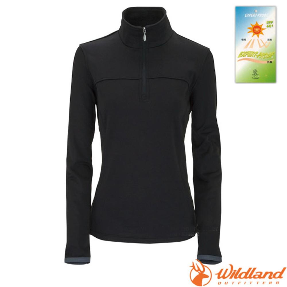 【荒野 WildLand】女款 彈性針織保暖衣.半開襟長袖立領衫.POLO衫.保暖上衣.刷毛衣/0A02601-54 黑