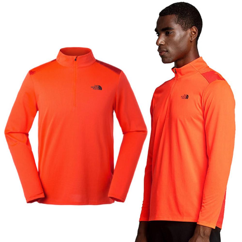 【美國 The North Face】男款 FlashDry-XD 閃電吸濕快乾耐磨長袖排汗衣.半開襟立領衫/3GE7 橙色 N