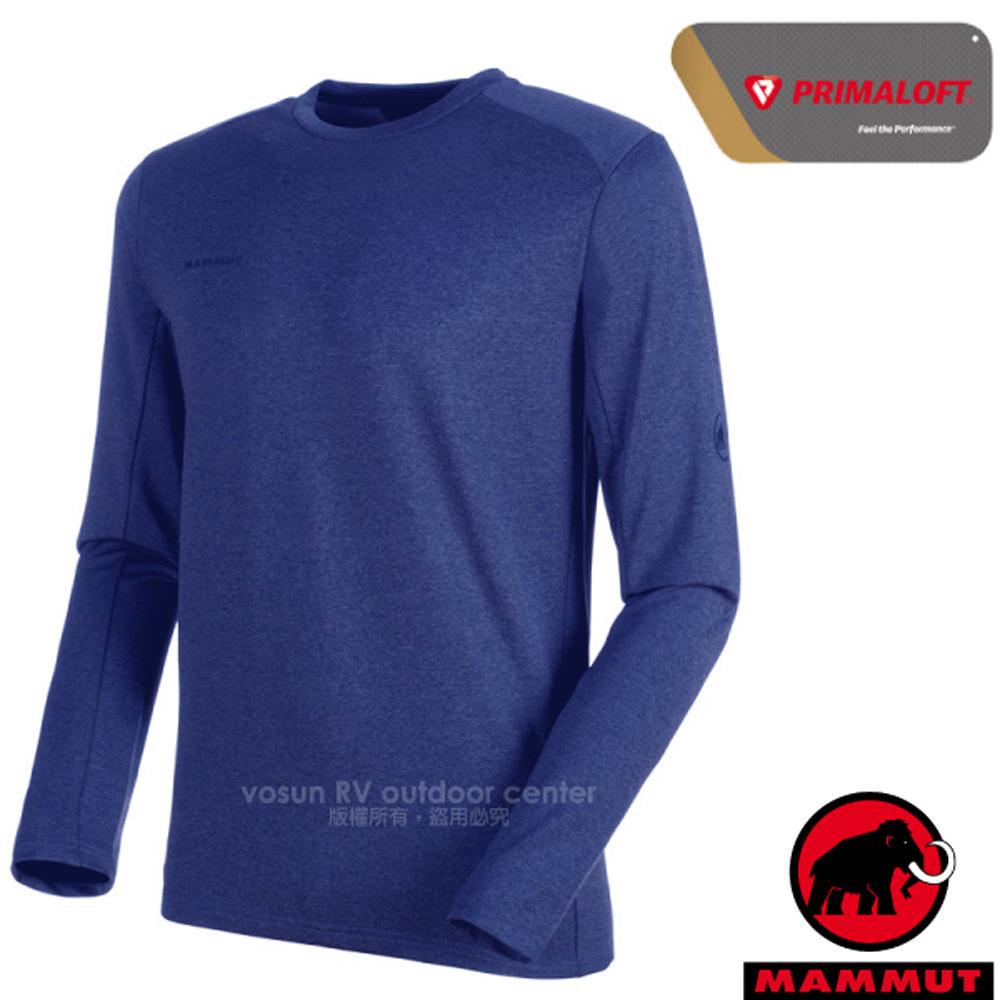 【瑞士 MAMMUT 長毛象】男新款 Runbold ML Crew Neck 長袖圓領休閒彈性上衣.休閒衫/00620-5967 群青藍