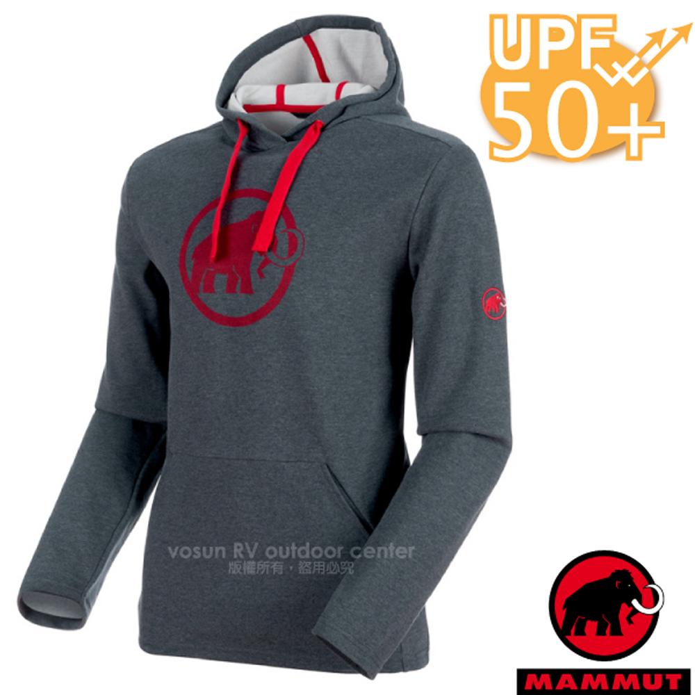 【瑞士 MAMMUT 長毛象】男新款 Logo ML Hoody 保暖連帽長袖上衣UPF50.運動休閑衫.帽T/01381-00158 幻影黑
