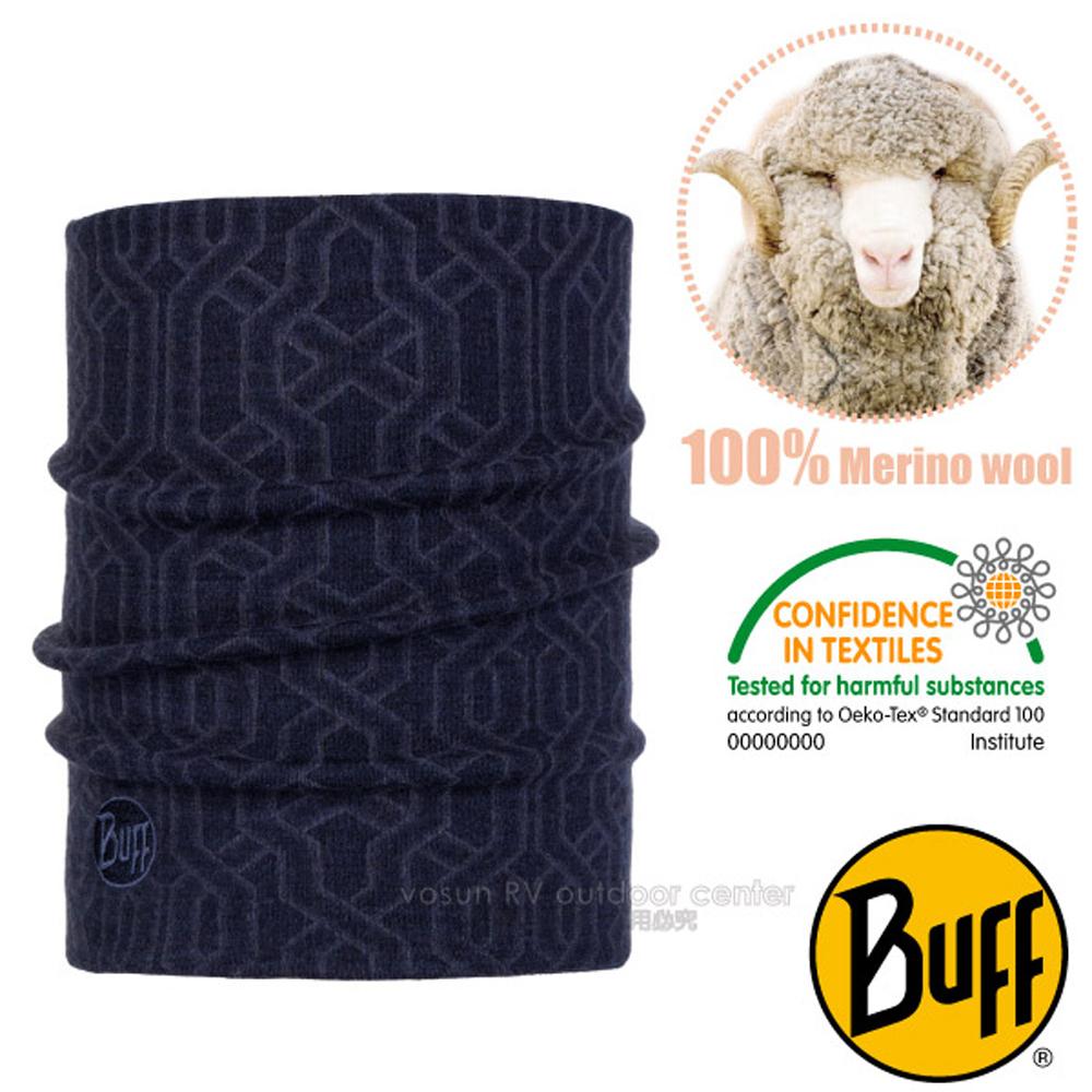 【西班牙 BUFF】頂級厚款 Merino 美麗諾羊毛超輕超彈性恆溫保暖領巾.魔術頭巾/118083 迷樣鎖鍊