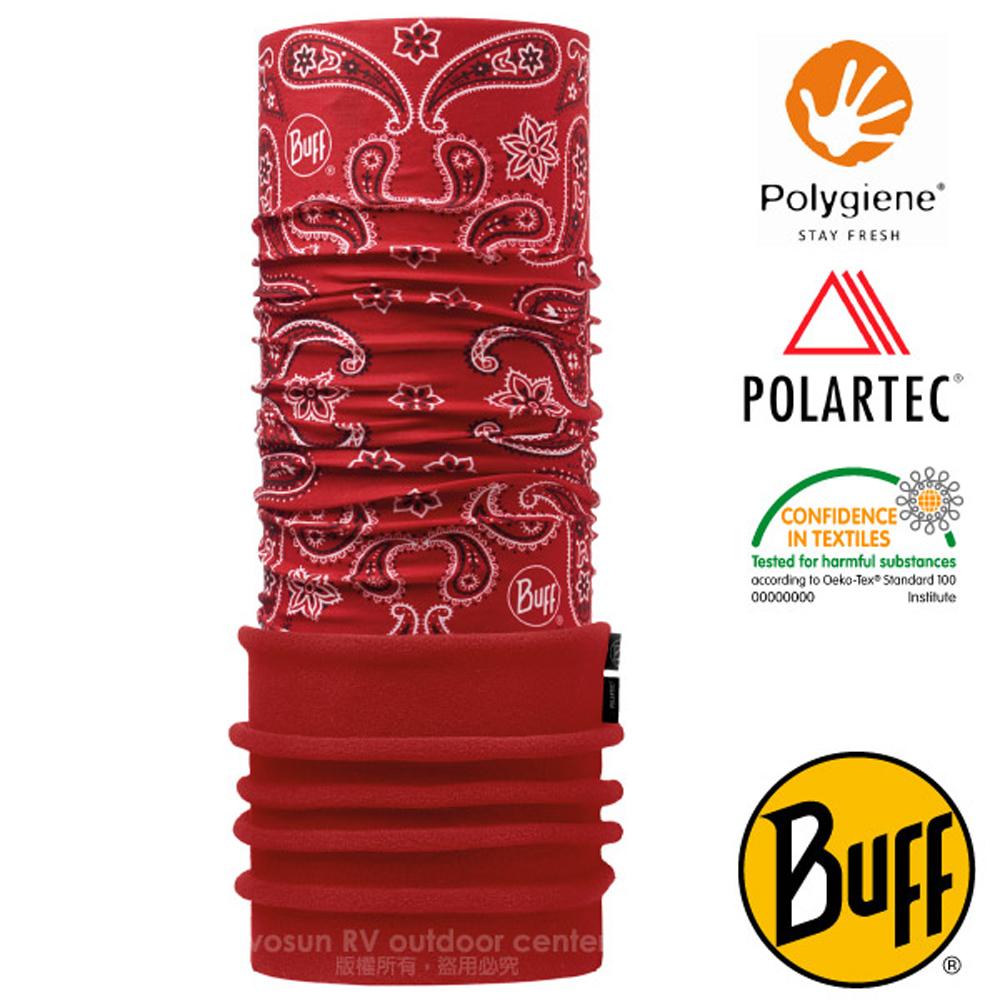 【西班牙 BUFF】POLARTEC 超彈性保暖魔術頭巾PLUS(吸溼排汗+抗菌除臭)口罩_圍脖帽子_118018 變形紅蟲