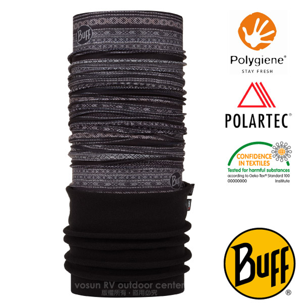 【西班牙 BUFF】POLARTEC 超彈性保暖魔術頭巾PLUS(吸溼排汗+抗菌除臭)口罩_圍脖帽子_118023 黑圖騰