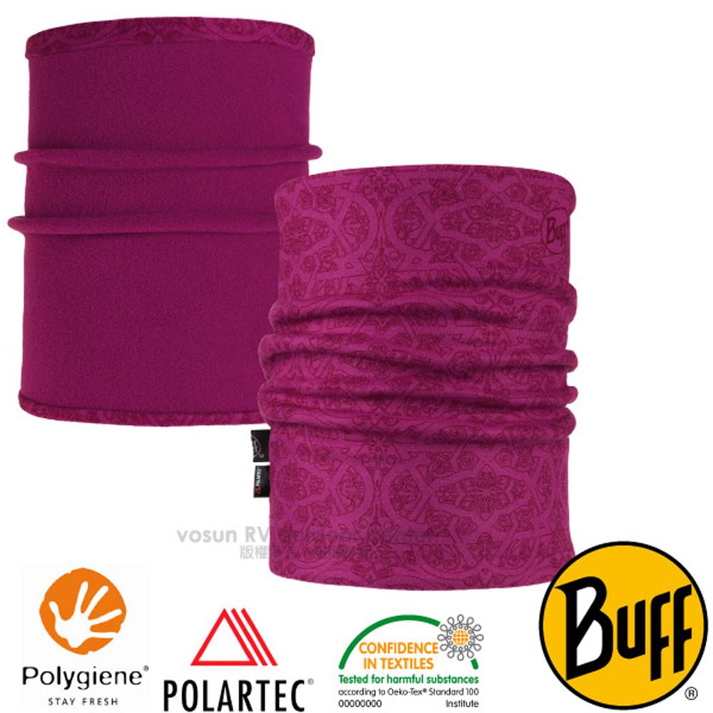 【西班牙 BUFF】POLARTEC 雙面用超彈性保暖領巾.魔術頭巾(吸溼排汗+抗菌除臭)圍脖_118012 玫瑰桃紅