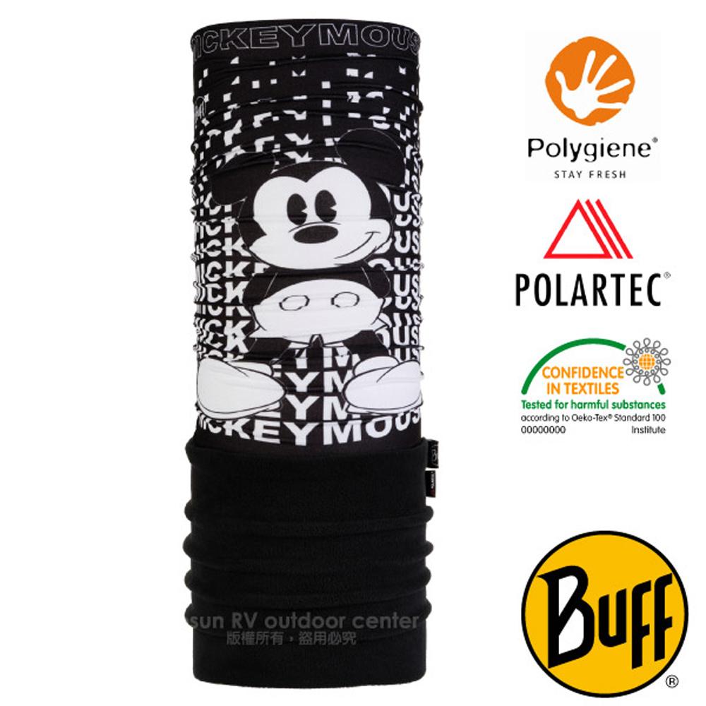 【西班牙 BUFF】迪士尼授權 兒童/青少年 POLARTEC 超彈性保暖魔術頭巾PLUS.圍脖帽子_118306 黑白米奇