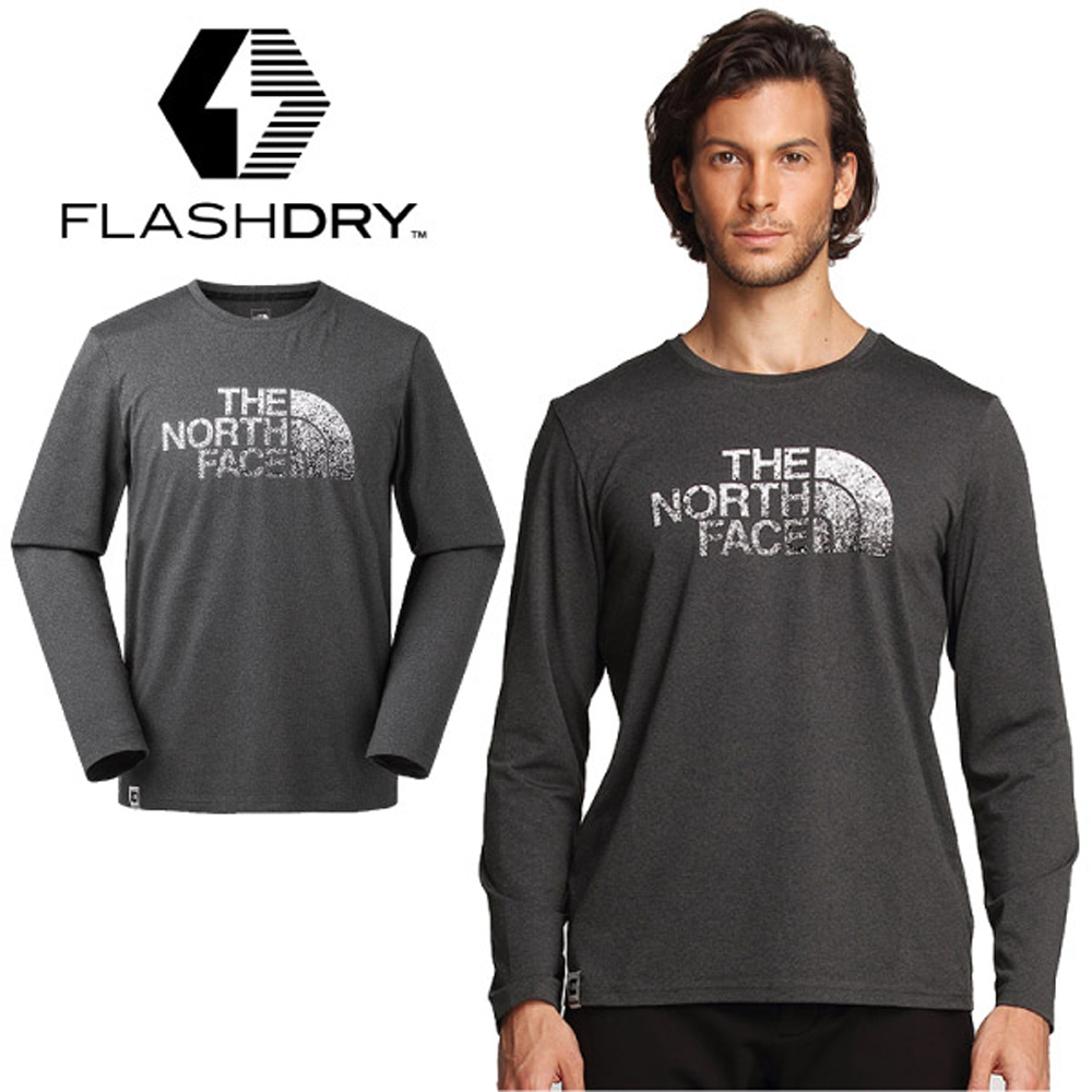 【美國 The North Face】男款 FlashDry 閃電吸濕快乾防臭長袖排汗衣.圓領T恤.機能性運動衫/3L6V 深灰 N