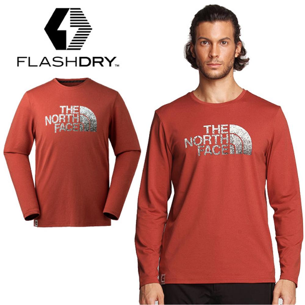 【美國 The North Face】男款 FlashDry 閃電吸濕快乾防臭長袖排汗衣.圓領T恤.機能運動衫/3L6V 火山紅 N