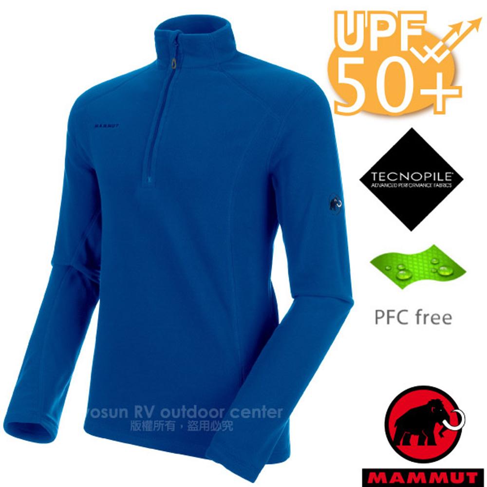 【瑞士 MAMMUT 長毛象】男新款 Yadkin Zipped Midlayer 彈性半開襟立領上衣/抗紫外線/1014-24941-5967 群青藍