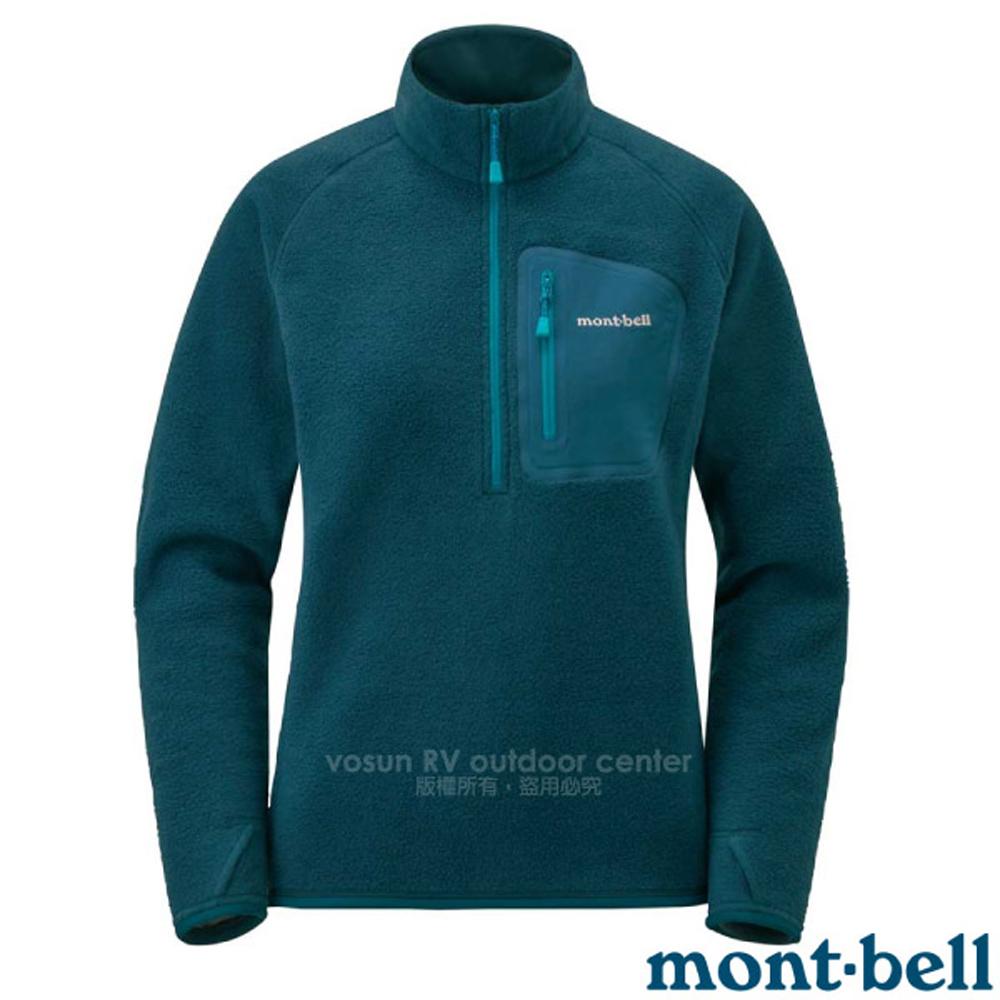 【MONT-BELL 日本】女新款 CP100 PULLOVER 舒適輕量保暖刷毛上衣.排汗休閒衫/1106594 藍黑